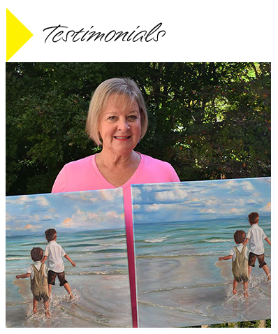 Testimonials from customers inclding images of original art beside reproductions